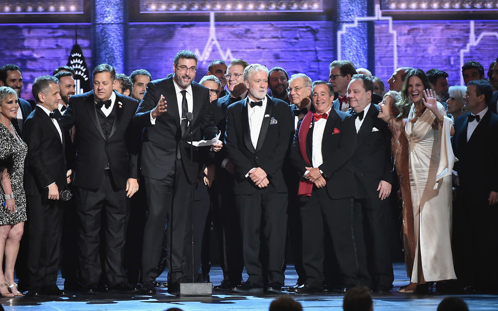 The cast and crew of The Band's Visit accept the award for Best Musical onstage during the 72nd Annual Tony Awards at Radio City Music Hall on June 10, 2018 in New York City. JTA