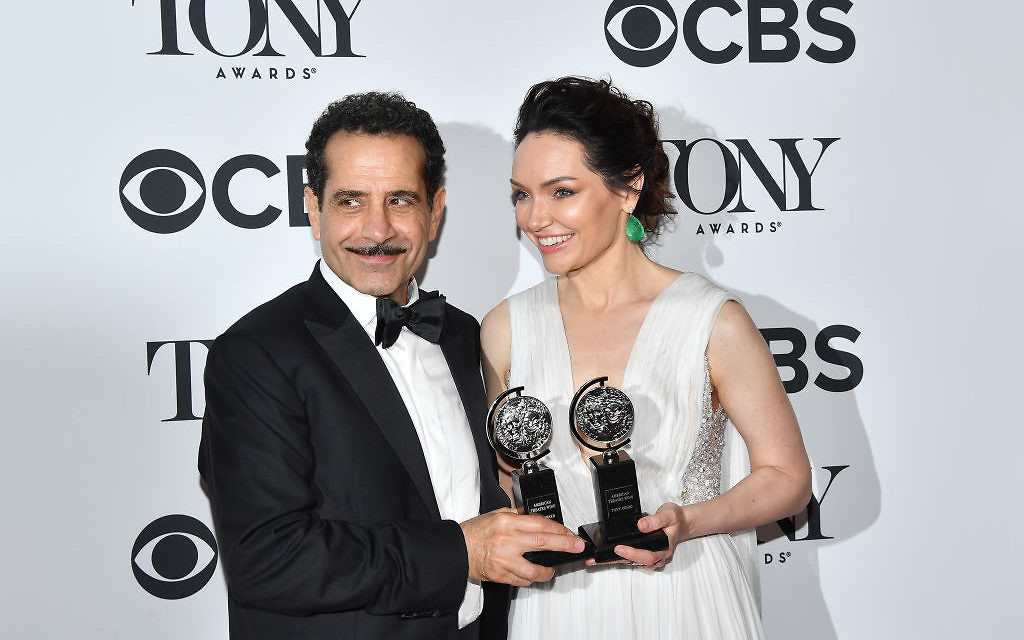 US actor Tony Shalhoub (L), winner of the award Best Performance by an Actor in a Leading Role in a Musical for 'The Band's Visit', and US actress Katrina Lenk, winner of the award Best Performance by an Actress in a Leading Role in a Musical for 'The Band's Visit' pose following the 72nd Annual Tony Awards last night. Getty Images