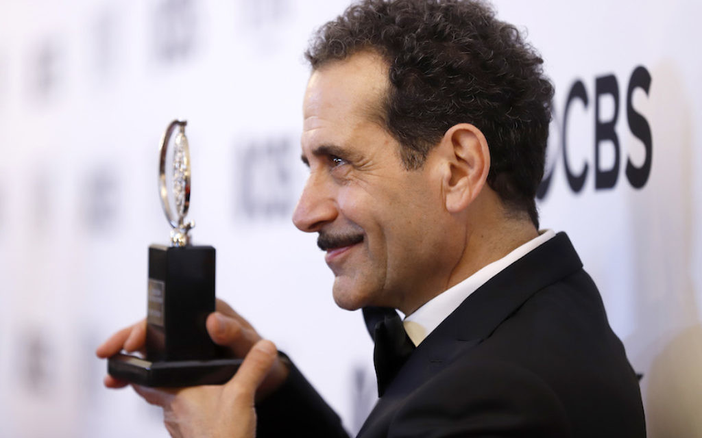 """Tony Shalhoub, winner of the award for best actor in a leading role in a musical for """"The Band's Visit,"""" posing at the ceremony at 3 West Club in New York City, June 10, 2018. JTA"""