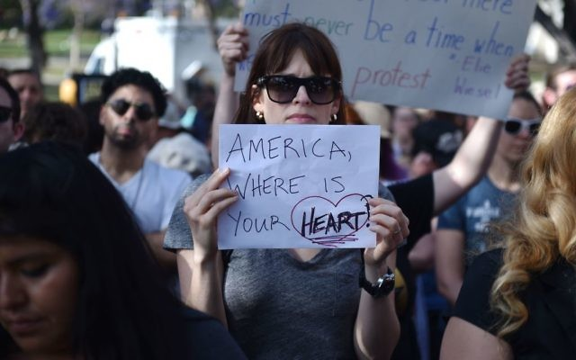 A protestor at the 'Families Belong Together March', in downtown Los Angeles, California on June 14, 2018. Getty Images