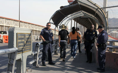 Customs and Border Protection Agents stand guard at the Paso del Norte International Bridge in Ciudad Juarez Chihuahua, Mexico on the border with El Paso, Texas, US, on June 15, 2018. Getty Images
