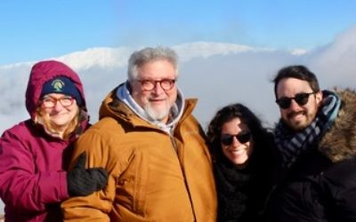 Rabbi Skolnik (second from left) with his wife Robin, daughter Talya, and her fiance Adam, in the Golan Heights, Israel. Courtesy