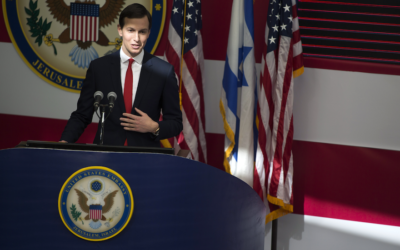 Jared Kushner speaks during the opening of the U.S. Embassy in Jerusalem, May 14, 2018. (Lior Mizrahi/Getty Images)