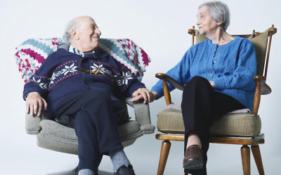 Meijer and Tedje van der Sluis during filming in Amsterdam of a 2018 documentary about their marriage. (Merlijn Doomernik)