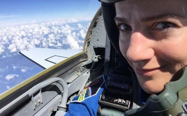 Selfie of Jessica Meir during NASA flight training. (Courtesy of Jessica Meir)
