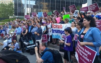 Protesters at a Jewish rally at the Immigration and Customs Enforcement headquarters in New York City demonstrate against the government's border separation policy, June 21, 2018. JTA