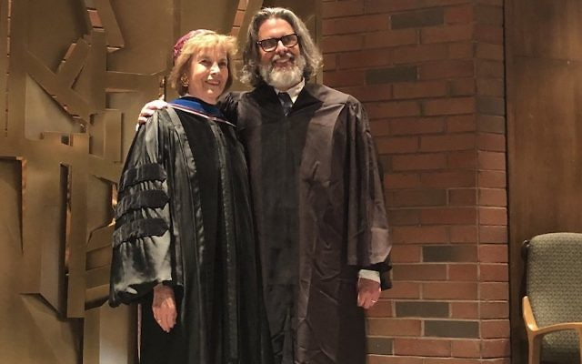 Novelist Michael Chabon, shown with his sponsor, Tamara Cohn Eskenazi, received an honorary doctorate and gave an address at the Hebrew Union College-Jewish Institute of Religion commencement ceremonies in Los Angeles, May 14, 2018. JTA