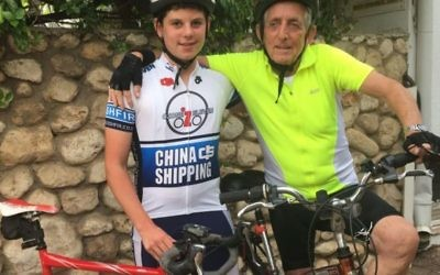 Paul Alexander, 80, and his grandson Daniel, 14, are both taking part in a commemorative cycle ride from Berlin to London to mark 80 years since the Kindertransport evacuation effort. (World Jewish Relief/PA Wire)