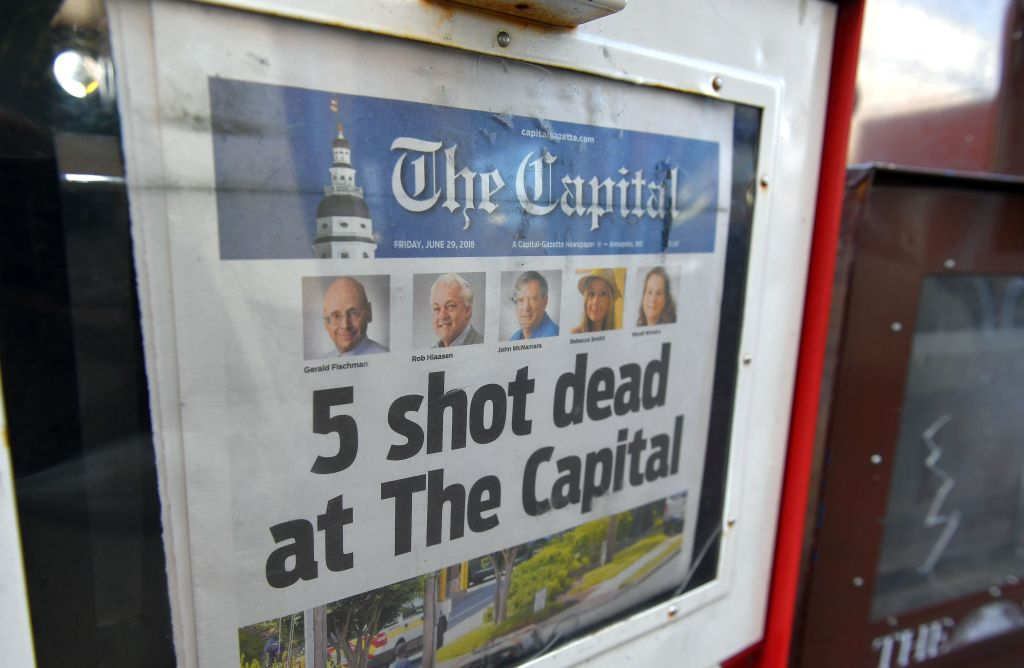 Jewish editor among 5 killed in annapolis newspaper shooting the capital gazette of june 29 2018 is seen in a newspaper vending box malvernweather Images