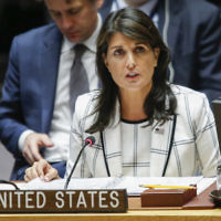 Nikki Haley speaks at a U.N. Security Council emergency session on the Israel-Gaza conflict, at U.N. headquarters in New York City, May 30, 2018. Getty Images