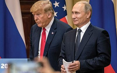 President Trump and President Putin spoke of Israel's security Monday in Helsinki. Getty Images