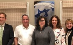 Kehillat Ahavat Yisrael founder Shlomit Metz-Poolat, center, with the synagogue's board members. Courtesy of Kehillat Ahavat Yisrael