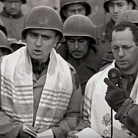 Max Fuchs, left, helped lead a historic service for Jewish-American soldiers in Aachen, Germany, in 1944. Screenshot from YouTube via JTA