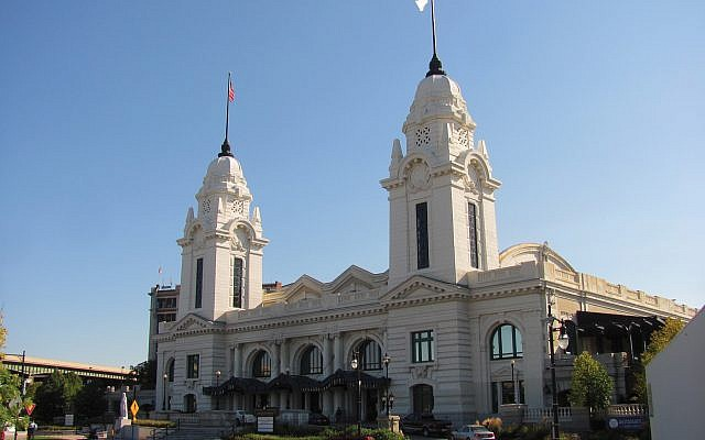 Worcester's restored Union Station, with its elegant twin white domes, is part of the downtown revival. Wikimedia Commons