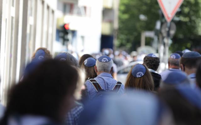 "A ""kippah walk"" in Berlin shows solidarity with Jews in the German capital, July 15, 2018. (JFNA Marketing)"
