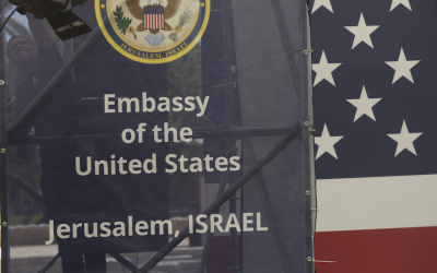 Israeli workers prepare the ceremony stage inside the U.S. consulate that will act as the new U.S. embassy, Jerusalem, Israel, May 13, 2018. (Lior Mizrahi/Getty Images)