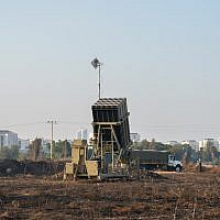 An Iron Dome missile battery seen near Tel Aviv, July 15, 2018. (Ben Dori/Flash90)