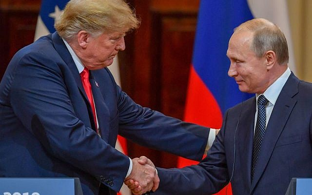"US President Donald Trump (L) and Russia's President Vladimir Putin shake hands before attending a joint press conference after a meeting at the Presidential Palace in Helsinki, on July 16, 2018. - The US and Russian leaders opened an historic summit in Helsinki, with Donald Trump promising an ""extraordinary relationship"" and Vladimir Putin saying it was high time to thrash out disputes around the world. Getty Images"