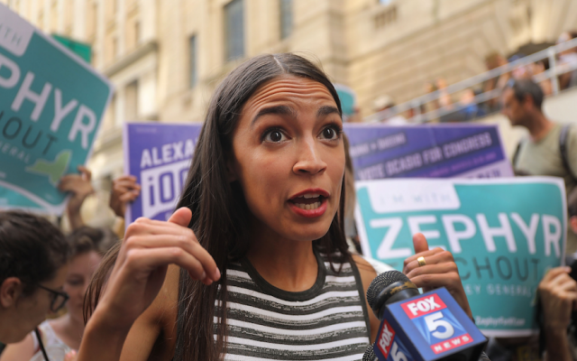 Congressional nominee Alexandria Ocasio-Cortez campaigning for Zephyr Teachout in New York City, July 12, 2018. (Spencer Platt/Getty Images)