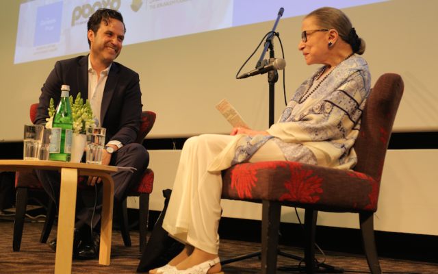 Benjamin Freidenberg, an Israeli filmmaker, interviews Supreme Court Justice Ruth Bader Ginsburg at the Jerusalem Cinematheque, July 5, 2018. (Natasha Kuperman)