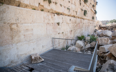 A large chunk of stone dislodged from the Western Wall at the mixed-gender prayer section in Jerusalem, Israel, July 23, 2018. (Yonatan Sindel/Flash90)