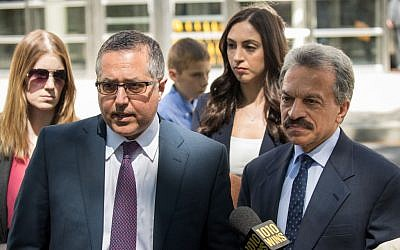 Mark Agnifilo and Paul DerOhannesian, attorneys representing Keith Raniere and Allison Mack, speak to reporters following a status conference where Raniere was again denied bail, at the U.S. District Court for the Eastern District of New York, June 12, 2018 in the Brooklyn borough of New York City. Getty Images