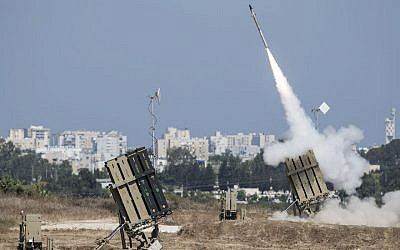 The Iron Dome air-defense system firing to intercept a rocket over the city of Ashdod in Israel, July 8, 2014. JTA