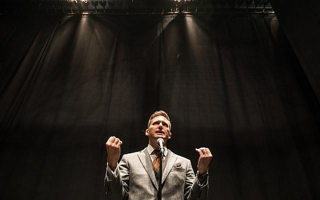 Richard Spencer at a press conference at the University of Florida, in Gainesville, Oct. 19, 2017. (Evelyn Hockstein/For The Washington Post via Getty Images)