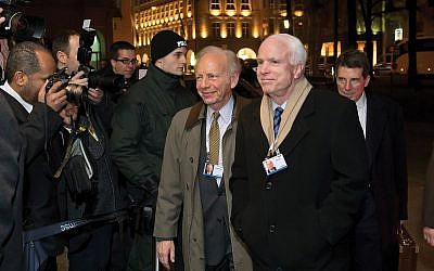 """Two of the """"Three Amigos"""": Sen. Joseph Lieberman, left, with Sen. John McCain at the 2014 Munich Security Conference in Munich, Germany. Getty Images"""