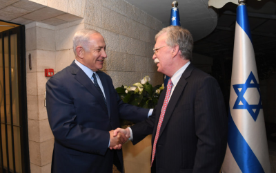 Israeli Prime Minister Benjamin Netanyahu meets with U.S. National Security Adviser John Bolton over dinner at the Prime Minister's Residence in Jerusalem on August 19, 2018. (JTA)