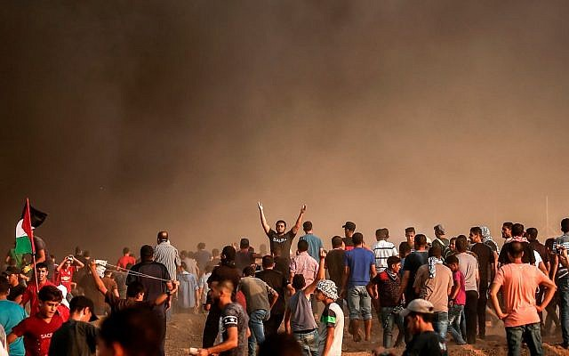 Palestinians protest on the Gaza border on August 31, 2018. Getty Images