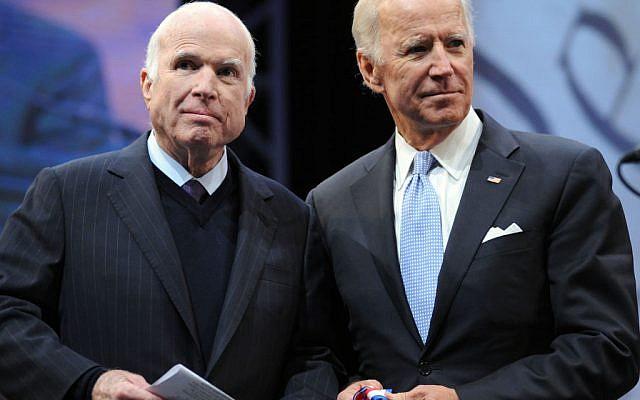 Sen. John McCain (R-AZ) receives the the 2017 Liberty Medal from former Vice President Joe Biden at the National Constitution Center on October 16, 2017 in Philadelphia, Pennsylvania. Getty Images