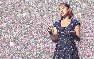 Sarah Jeong's anti-white tweets prompted a debate over the definition of racism and, subsequently, anti-Semitism. (Illustration by Charles Dunst/JTA; photo: Wikimedia Commons)