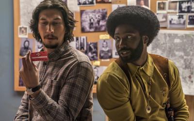 "Adam Driver, left, and John David Washington in a scene from Spike Lee's ""BlacKkKlansman."" (JTA)"