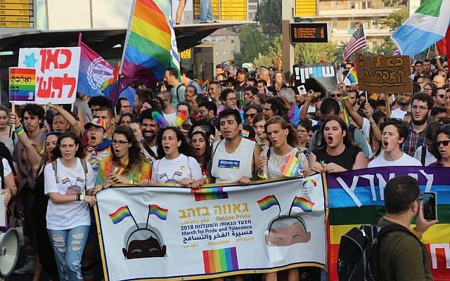 Tens of thousands march through the streets of Jerusalem in the annual Pride Parade, Aug. 2, 2018. (JTA)