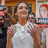 Supporters of Julia Salazar back the State Senate candidate at a news conference this month in Brooklyn.  JTA