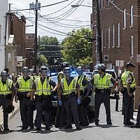 Police blocking off the street after a car rammed into a crowd of counterprotesters in Charlottesville, Va., Aug. 12, 2017. (JTA)