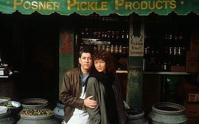 "Peter Riegert and Amy Irving starred in ""Crossing Delancey."" Riegert played a pickle shop owner on the Lower East Side. (JTA)"