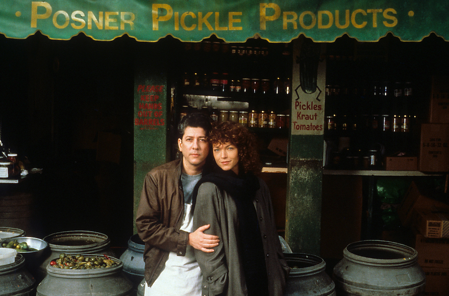 """Peter Riegert and Amy Irving starred in """"Crossing Delancey."""" Riegert played a pickle shop owner on the Lower East Side. (JTA)"""