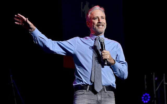 Jon Stewart speaking at a charity event at The Theater at Madison Square Garden in New York City, Nov. 7, 2017. (JTA)