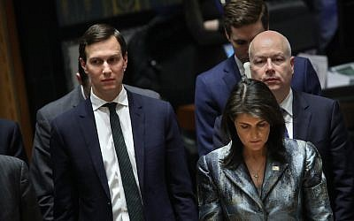 Jared Kushner, left, shown with U.S. Ambassador to the United Nations Nikki Haley and his fellow Middle East peace negotiator Jason Greenblatt at a U.N. conference in New York, Feb. 20, 2018. (JTA)