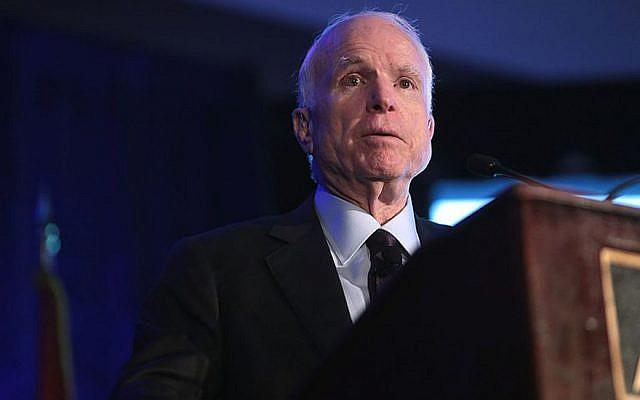 U.S. Senator John McCain speaking at the Arizona Biltmore in Phoenix, Arizona, October 21, 2016. (JTA)