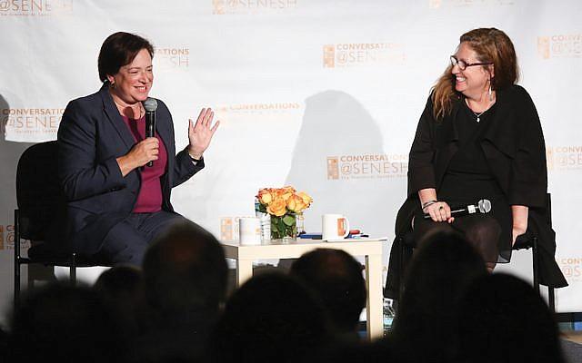 Supreme Court Justice Elena Kagan, left, speaking last week with journalist Dahlia Lithwick at the Hannah Senesh Community Day School in Brooklyn. Matthew Sussman for Hannah Senesh Community Day School