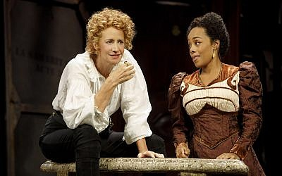 "Janet McTeer, above left, as Sarah Bernhardt playing Hamlet, and Brittany Bradford in ""Bernhardt/Hamlet."" Joan Marcus"