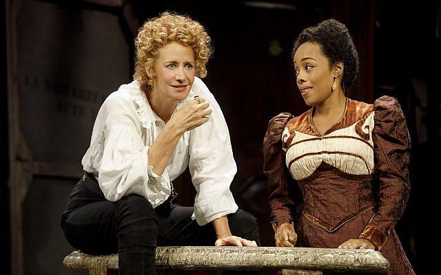 "Janet McTeer, above left, as Sarah Bernhardt playing Hamlet, and Brittany Bradford in ""Bernhardt/Hamlet."" Joan Marcus"