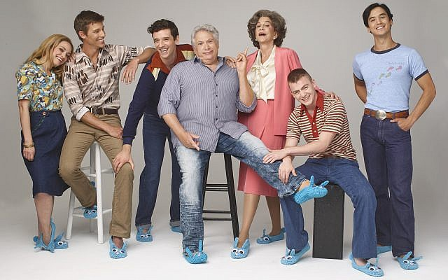 "The cast of the Broadway revival of ""Torch Song"": Roxanna Hope Radja, left, Ward Horton, Michael Urie, Harvey Fierstein, Mercedes Ruehl, Jack DiFalco and Michael Hsu Rosen. Photo by Andrew Eccles"