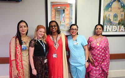 L-R: Satvir Kaur, RN; Kathleen Keegan, Director of Recreation Therapy; Rita Ramsahai, Therapeutic Recreation Leader; Kirandeep Kaur, RN; Prasanna Nair, RN, Nurse Manager