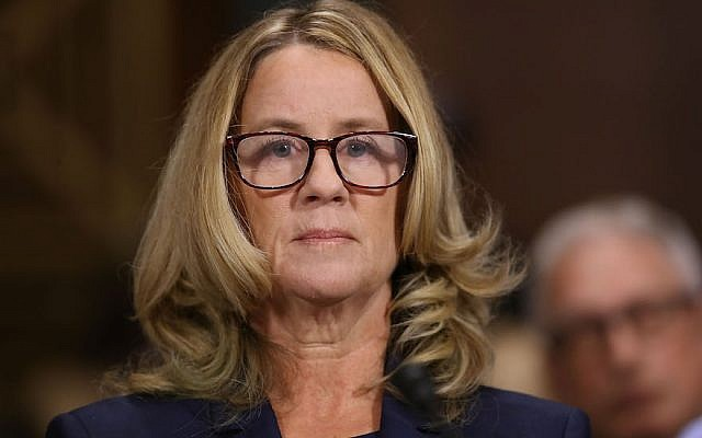 Christine Blasey Ford prepares to testify before the Senate Judiciary Committee on Capitol Hill, Sept. 27, 2018. (JTA)