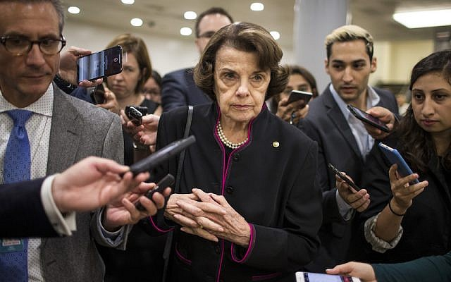 Sen. Dianne Feinstein speaks to the media in Washington, D.C., Sept. 27, 2018. JTA