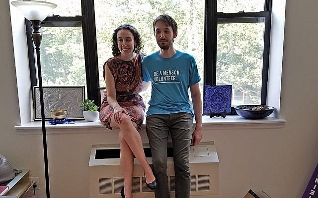 Erica Frankel and Dimitry Ekshtut in their home, also the base for much of their community programs for Kehillat Harlem and Based In Harlem. Y. Schwarz/JW